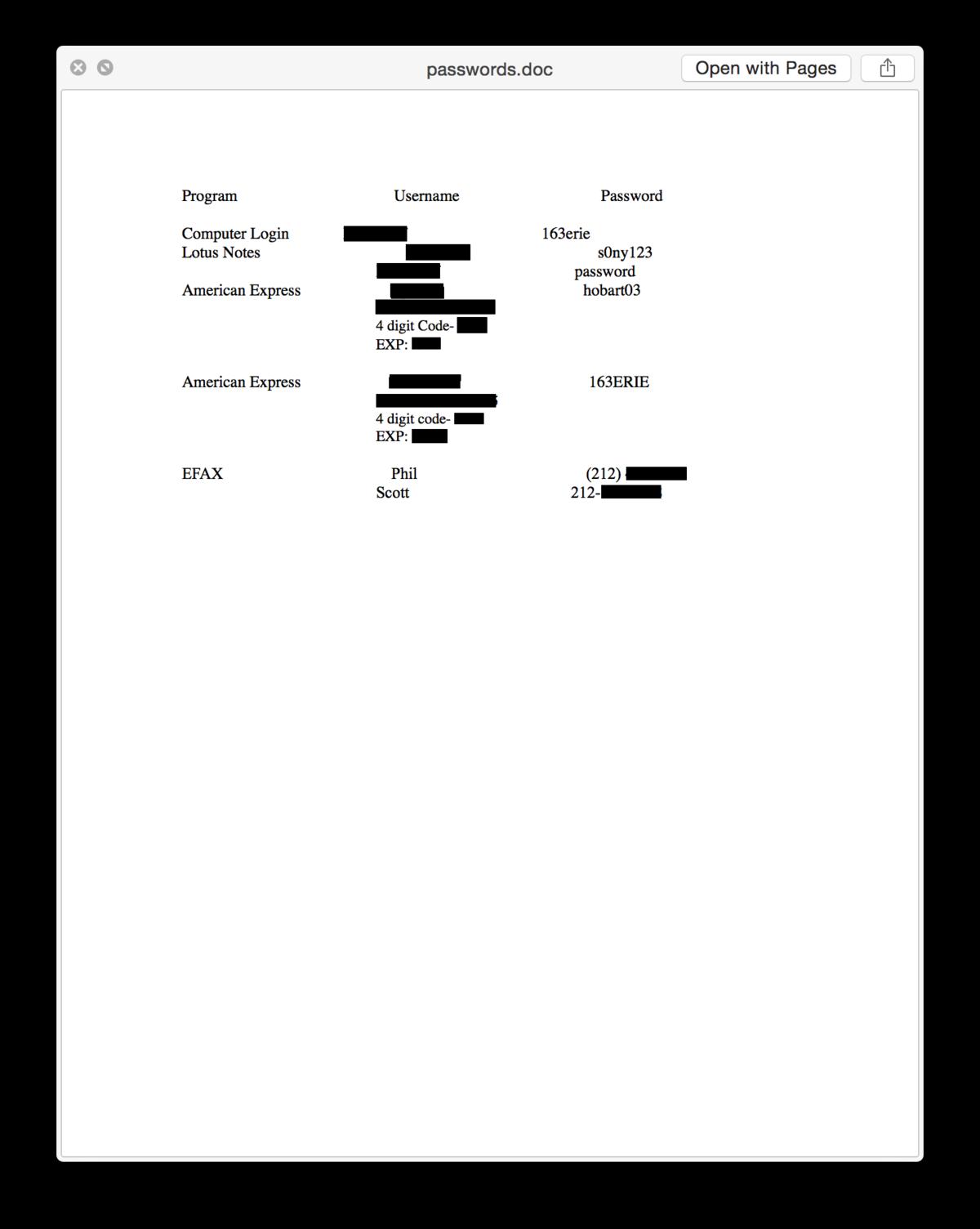 نمونهای از فایلی که رمز عبور و دیگر مشخصات در آن بوده است.