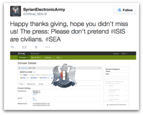 توییت ارتش الکترونیک سوریه در مورد هک Gigya
