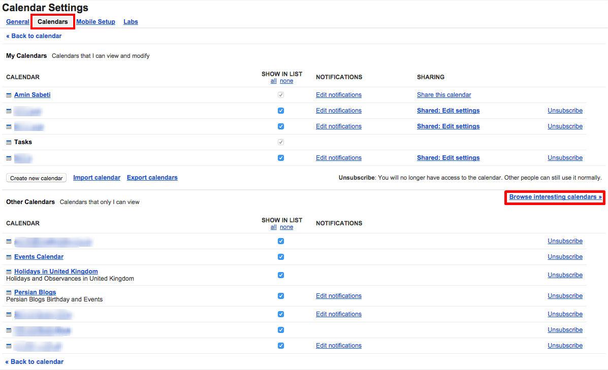 تنظیمات تقویم گوگل (شماره ۱)
