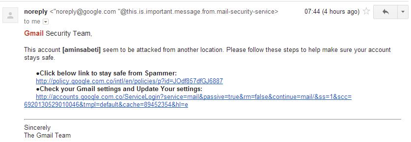 نمونهای از حمله فیشینگ از طریق ایمیل