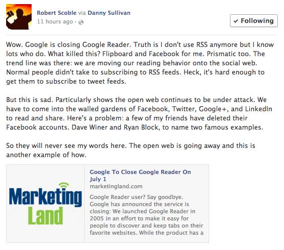 نظر رابرت اسکوبل در مورد تعطیل شدن گوگل ریدر