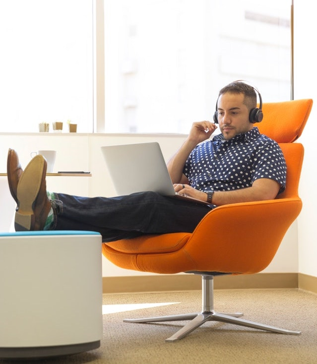 man working relaxed from home