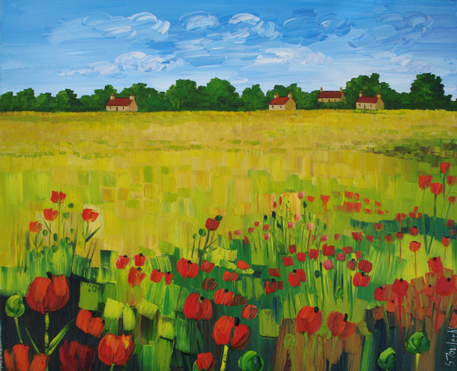 Summer Field with Bright Poppies
