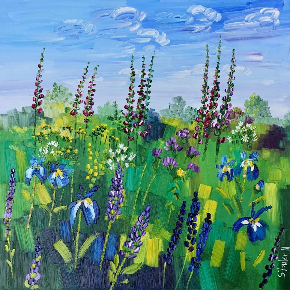 Summer Garden with Irises