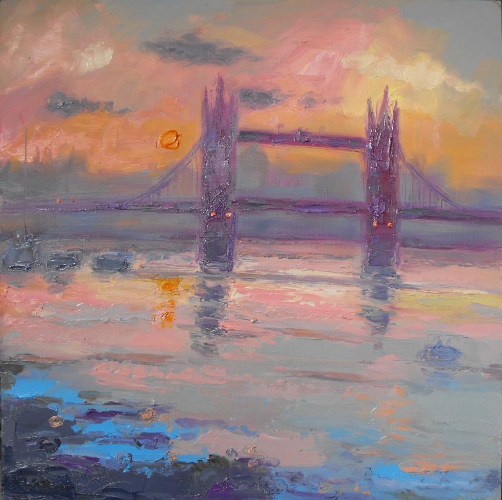 Grey and Pink, Tower Bridge from Bermondsey