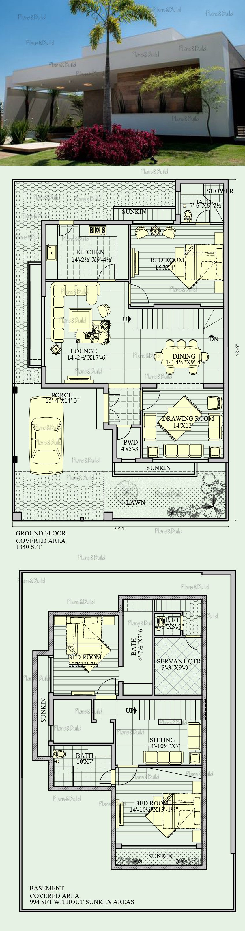 Plans and Build | 10 Marla house plan - 3 beds 4 bath 3100 Sq/Ft