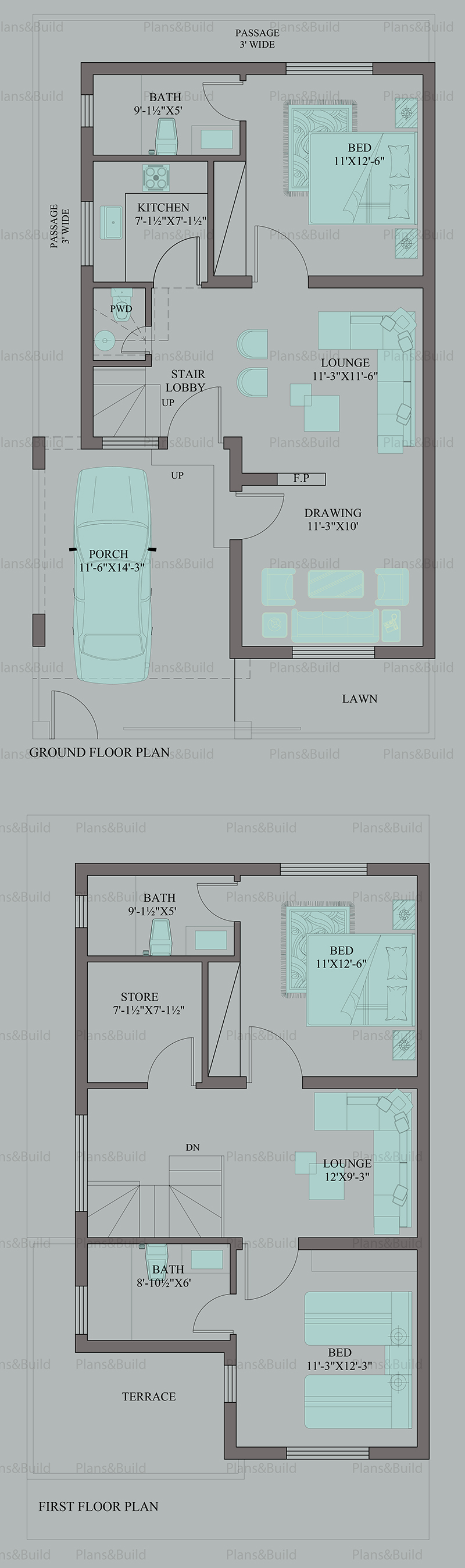 Plans and Build | 5Marla House plans