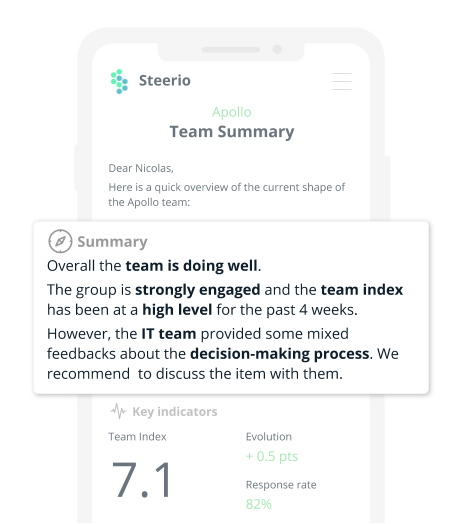 Get insight about your team in the blink of an eye. Every week, get smart summaries about the current status of the team directly on your mailbox.