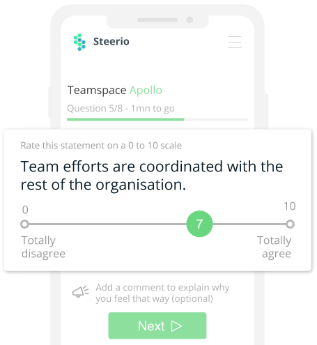 Every health check is unique. Steerio algorithm generates targeted survey to highlitgh how your team is doing.