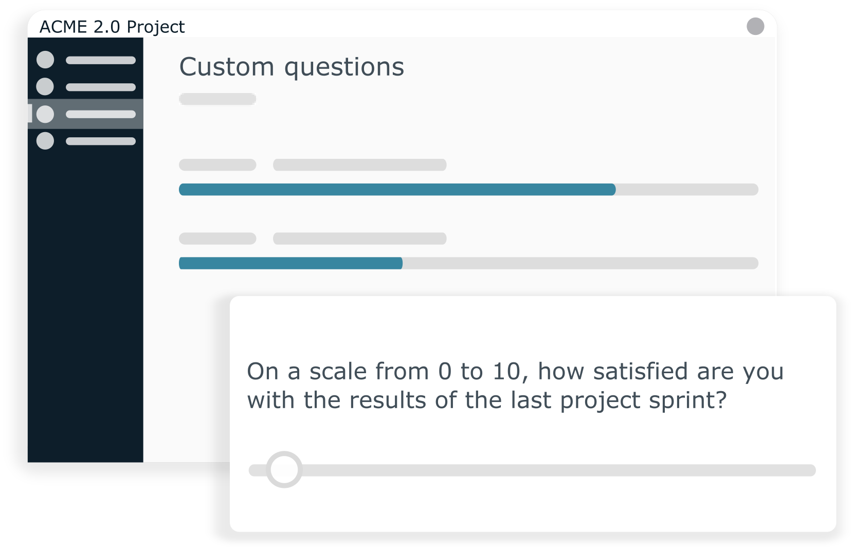 Create your own questions with the custom poll function and gather specific feedback