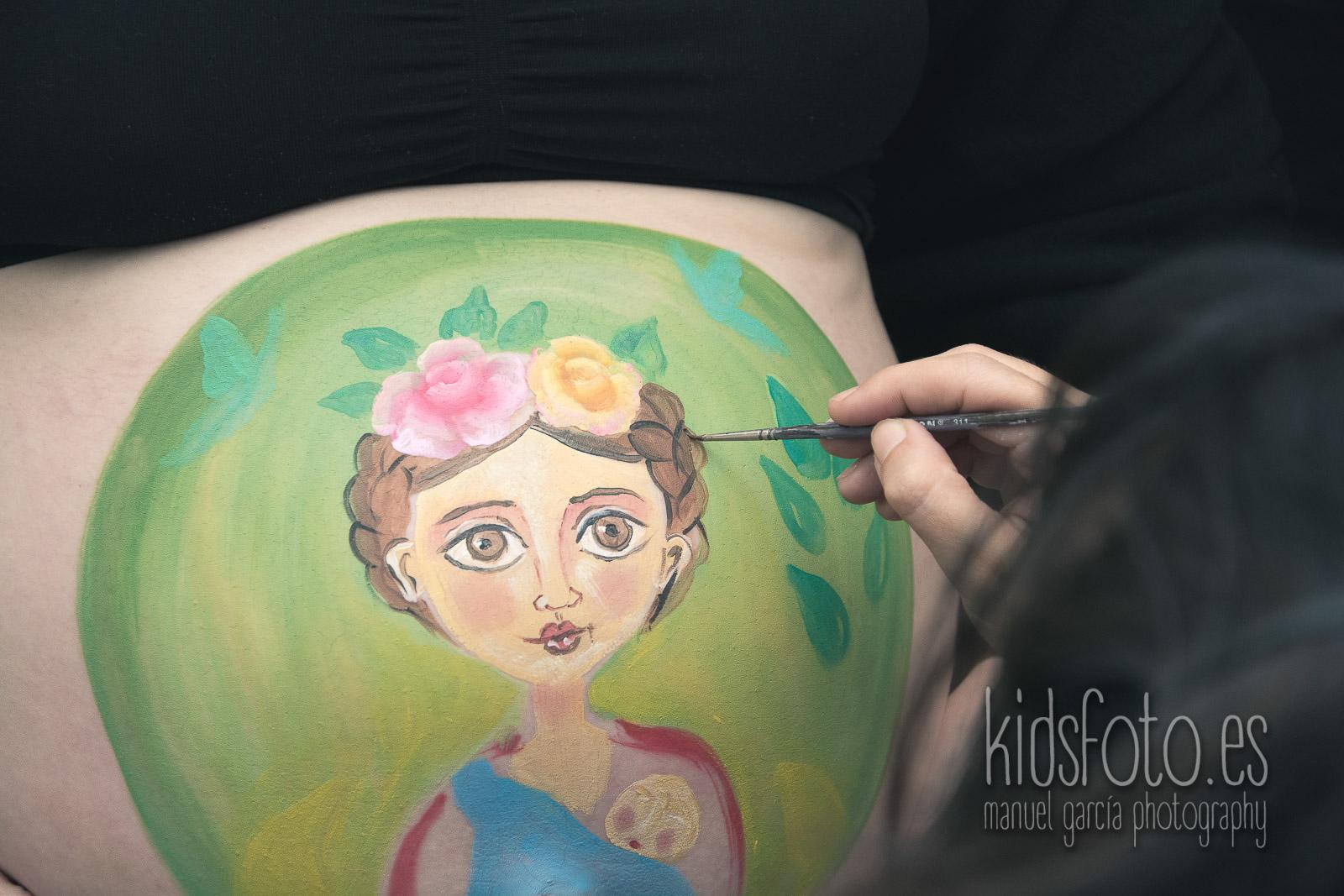 kidsfoto.es Body paint Bellypainting Sesión Premamá Zaragoza