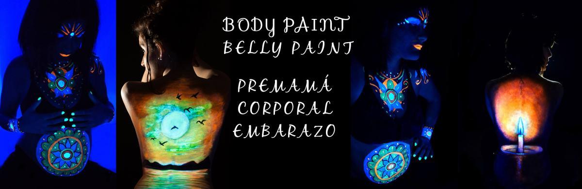 kidsfoto.es Sesión Belly Paint Body paint embarazo premamá con luz negra.