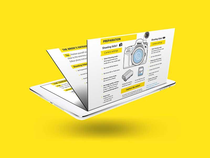 Stacked 3d mockup of slide deck ebook design with camera illustration