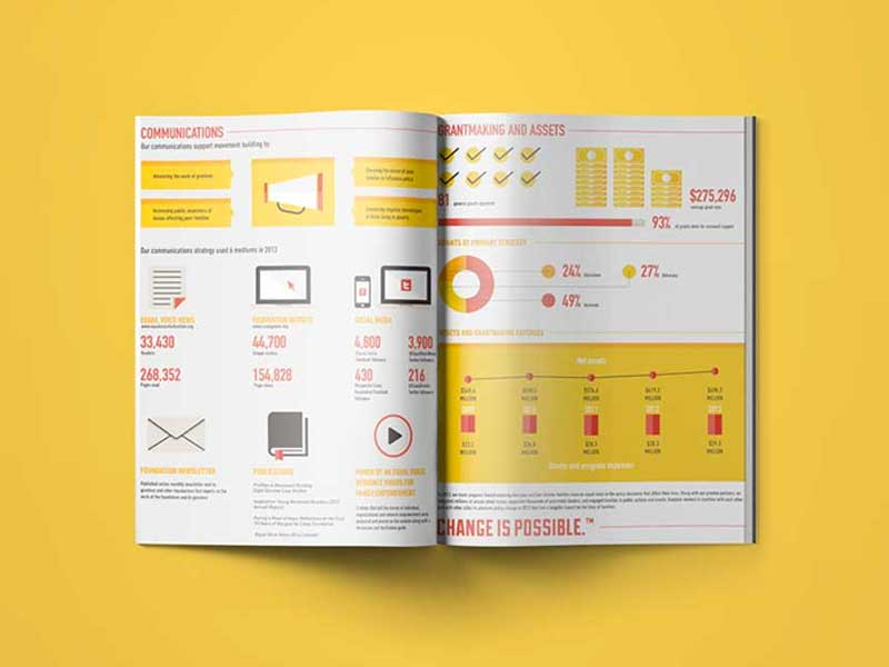 white paper ebook design example with data visualization yellow and red theme