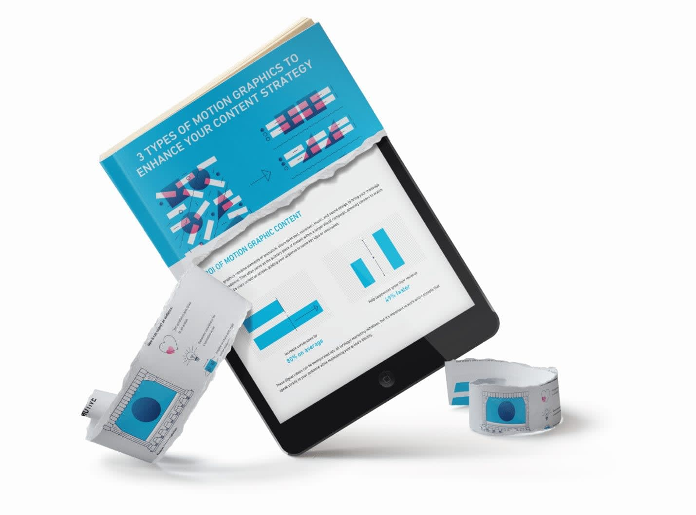 An image of a tablet showing an ebook about motion graphics