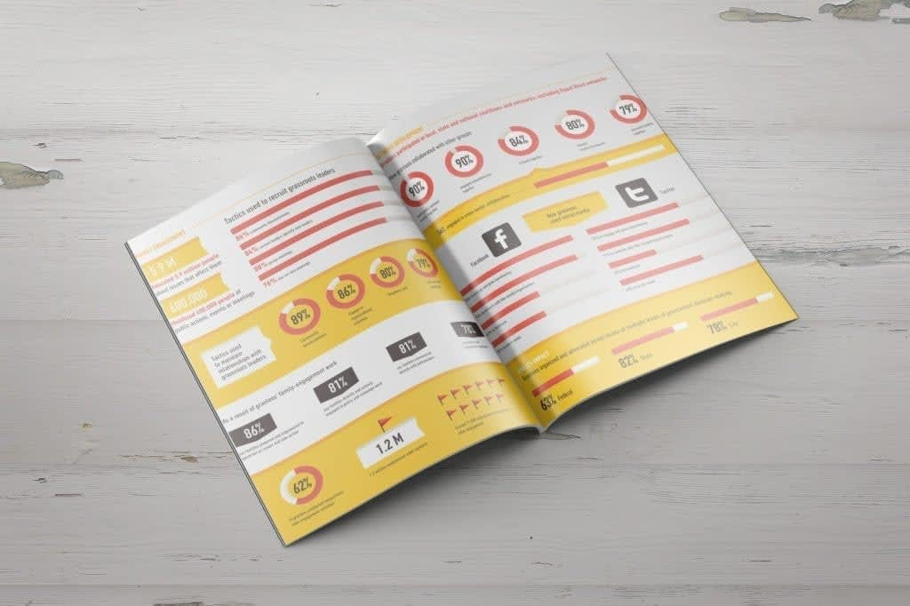 Annual report booklet with data visualization