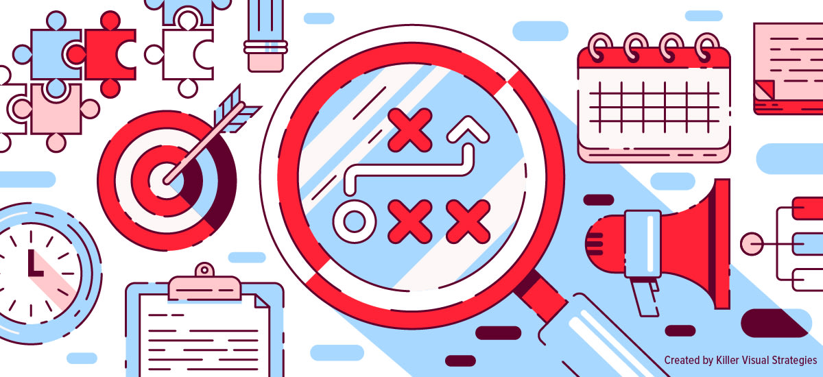 Illustrations of elements that go into a brand's visual strategy and brand book, such as goals (arrow target), strategy (puzzle pieces) and more