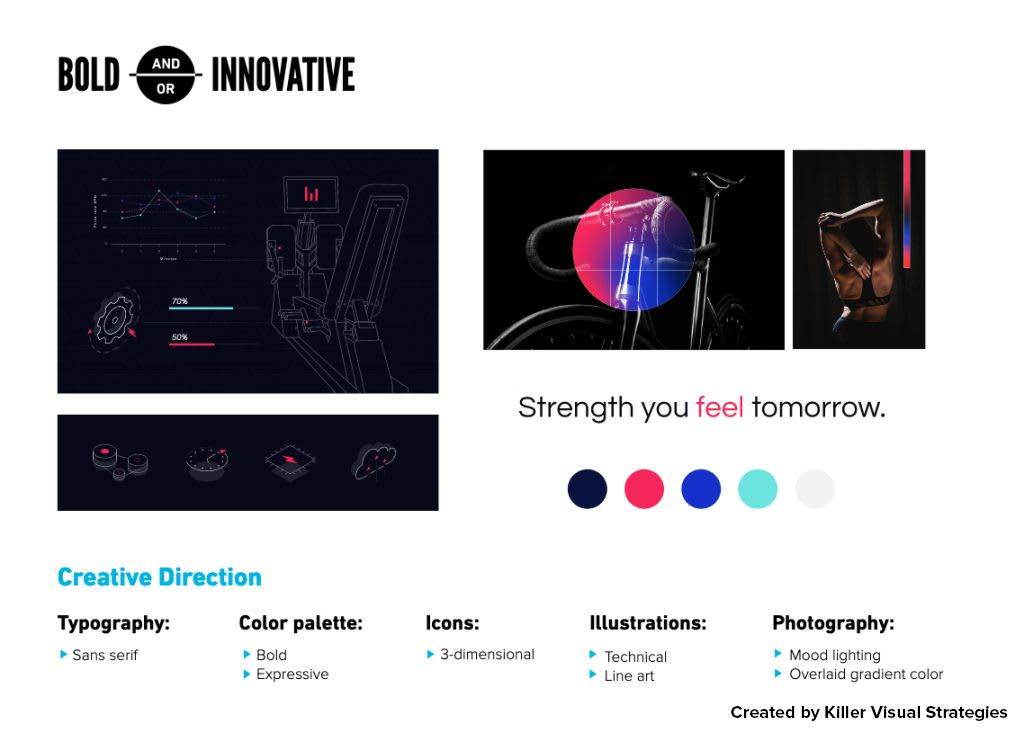 design style using workout photography and line illustration