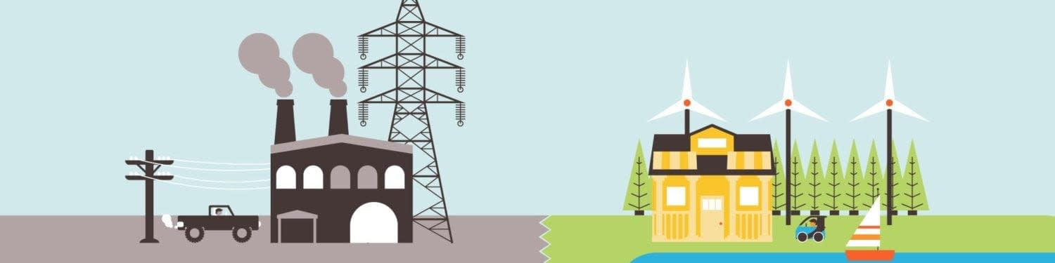 Interactive infographic header for Solutions Project white paper alternative showing coal factory next to wind energy station
