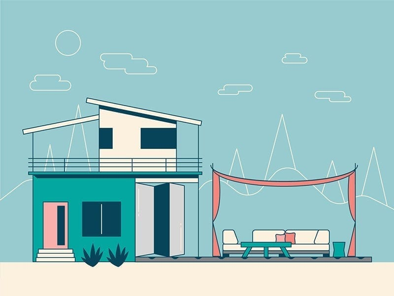 real estate infographic scene with house and outdoor patio furniture