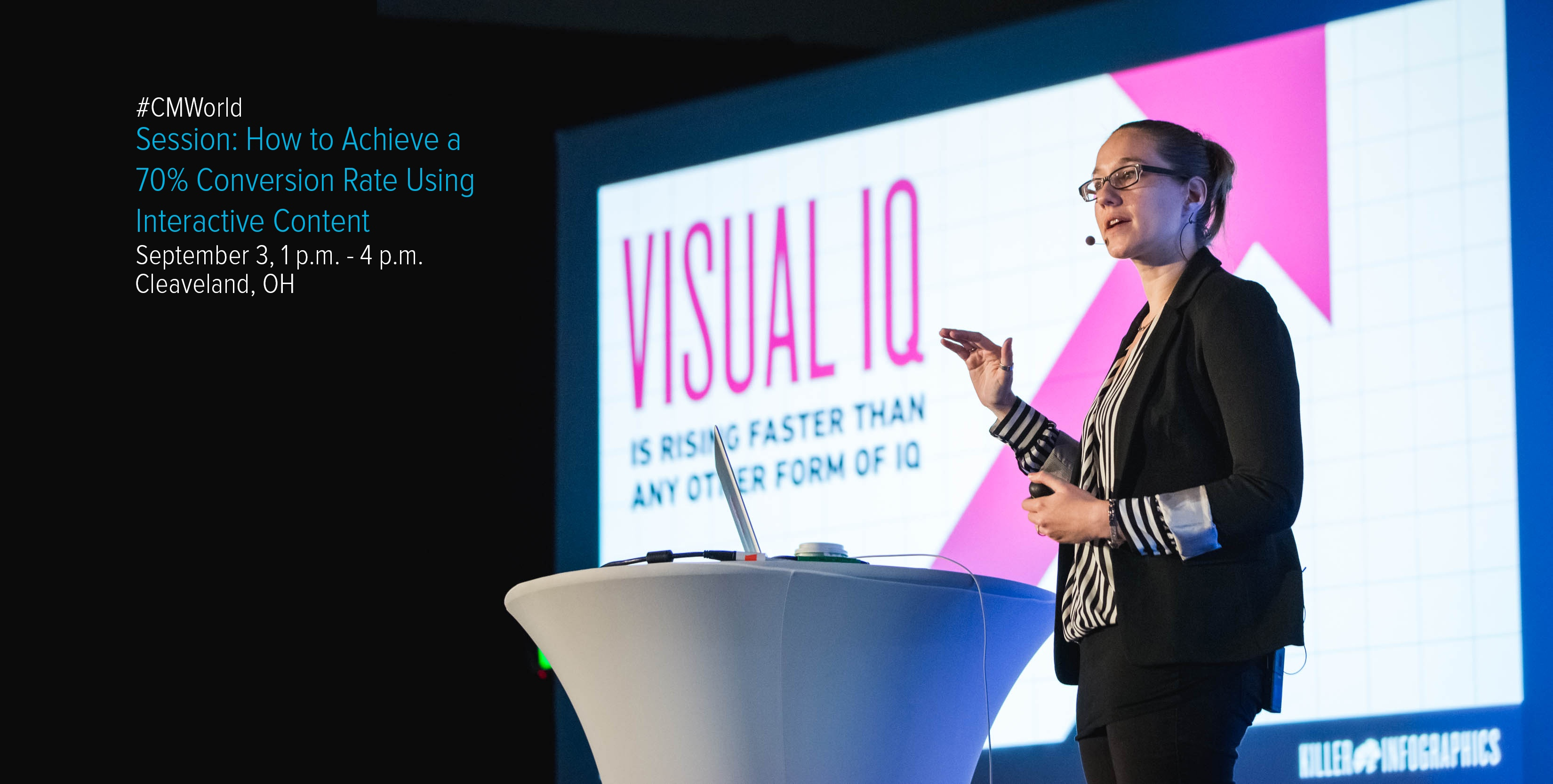 Amy Balliett on stage delivering a pitch about visual communication using presentation deck design