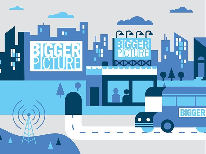 Bigger Picture ad agency presentation slide design with schoolbus tunnel and cityscape