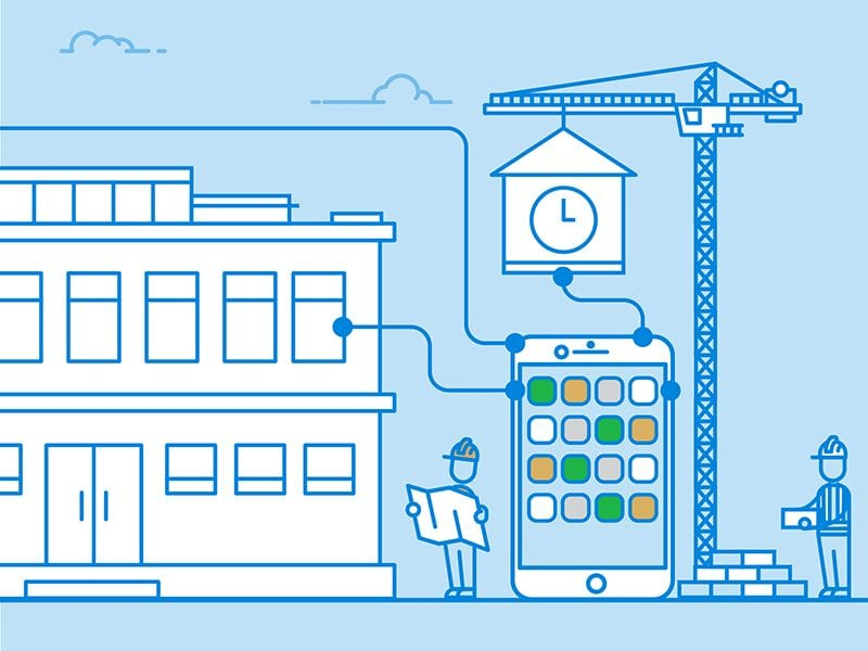 PlanGrid Infographic for Construction Industry app Illustration