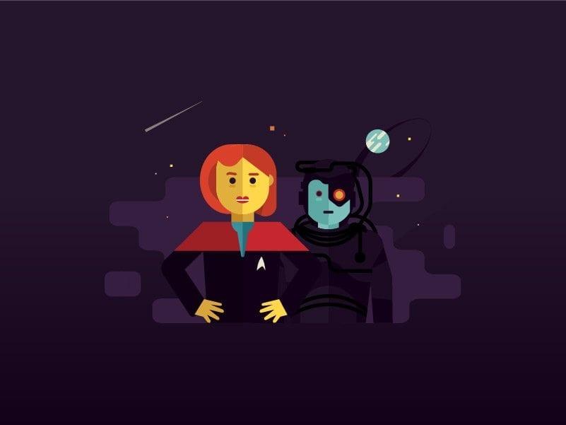 Star Trek Netflix infographic illustration Janeway Voyager borg
