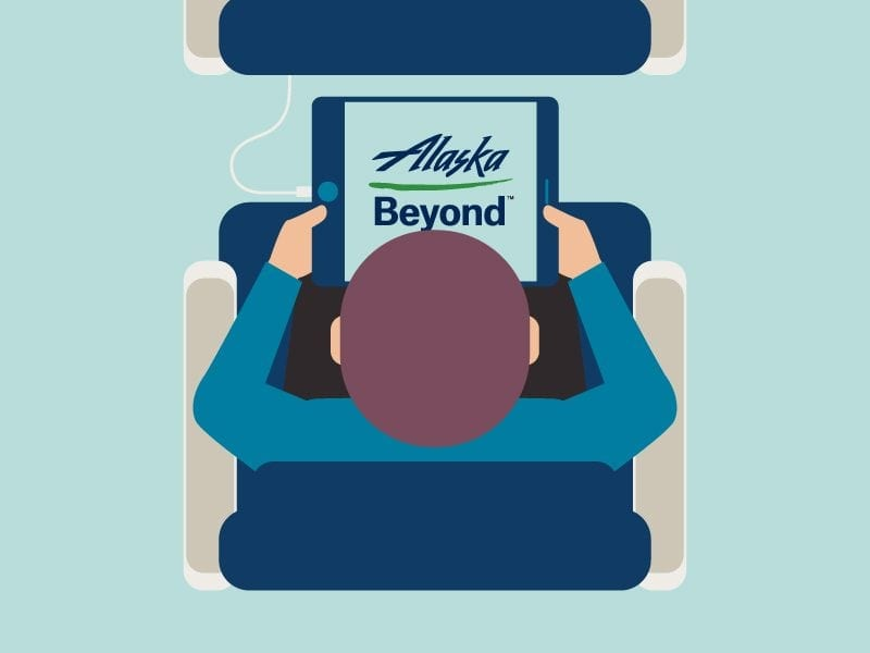 Illustration of person on airplane viewing Alaska Beyond entertainment program on tablet, from infographic design