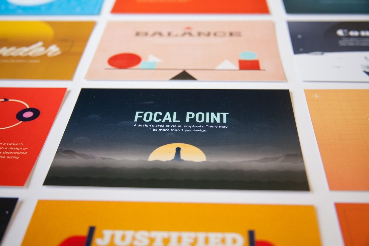 A set of postcards with differing design styles, fonts, and more