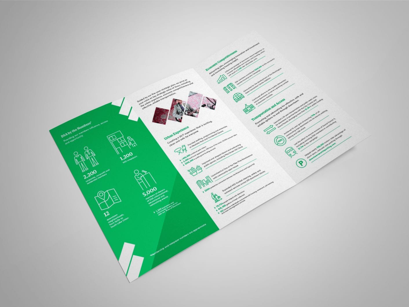 Green and white branded brochure with illustrations