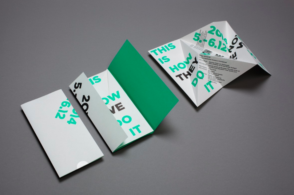 Photo of green and white foldable, branded brochure