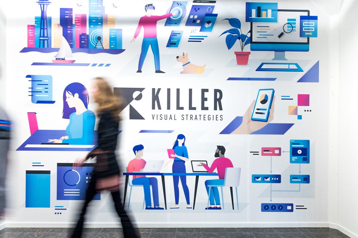 Killer Visual Strategies office mural in SLU Seattle