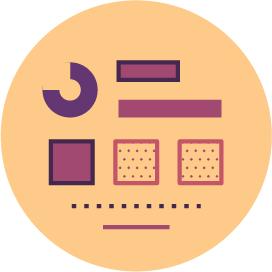 Infographics icon showing basic visual communication