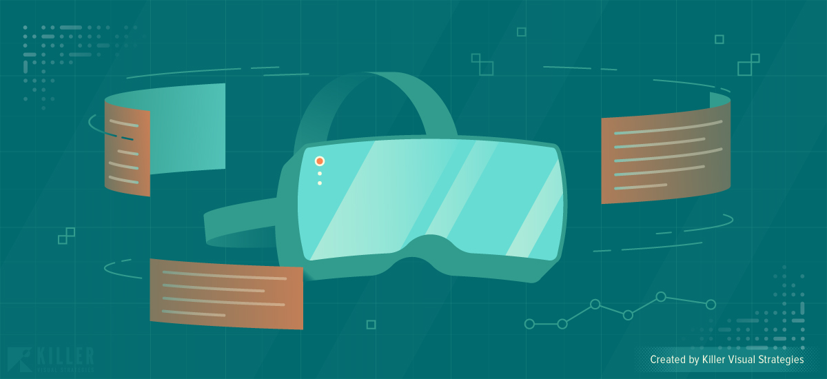 VR and AR design illustration with virtual reality headset