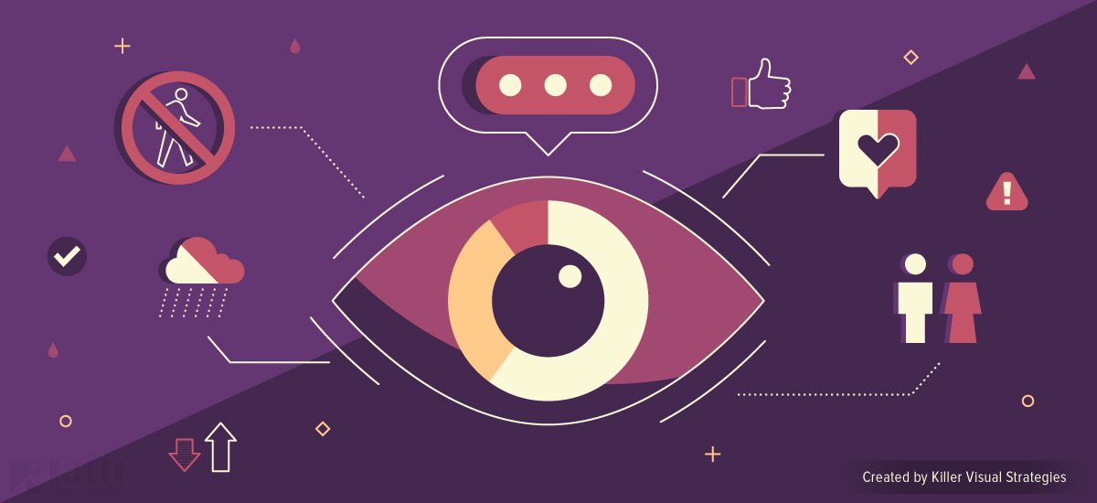 Eye and data visualization with social media icons and pictograms