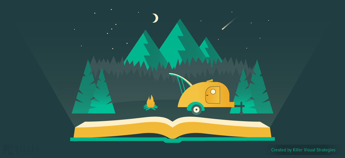Book appearing to display a scene of camping in the woods