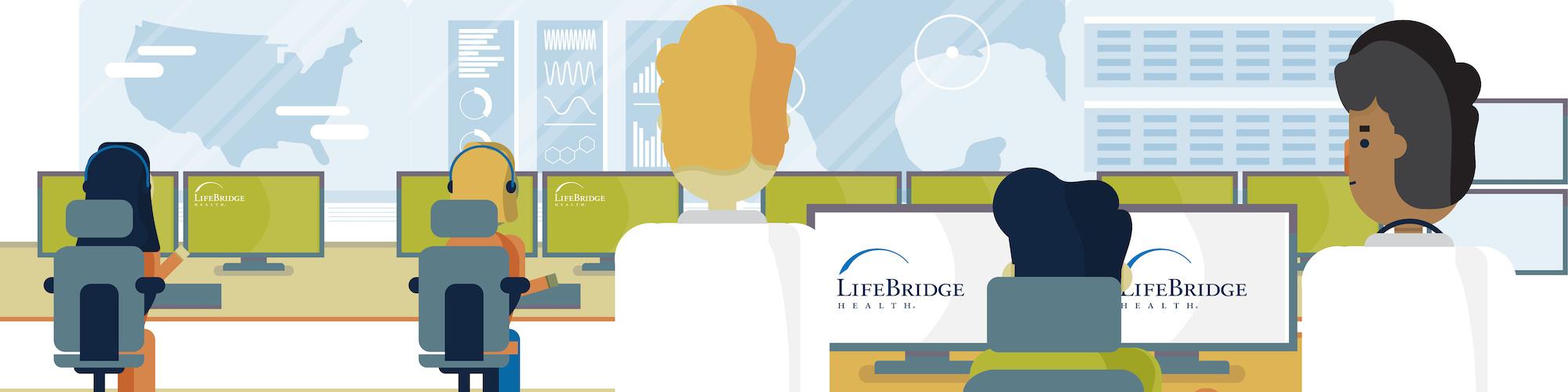 Illustration of doctors managing healthcare coverage