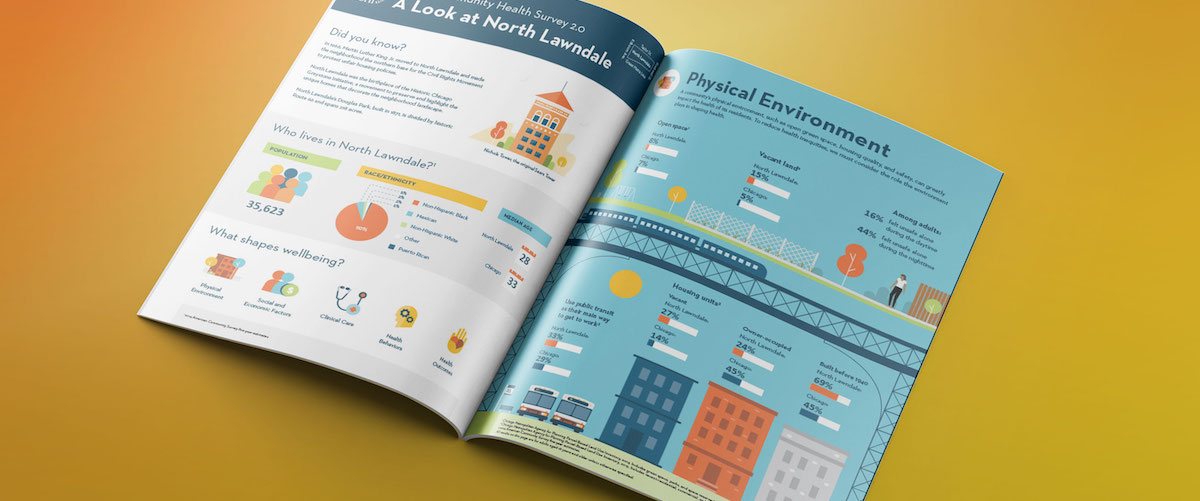 Infographic annual report white paper layout with data visualization and designs of buildings