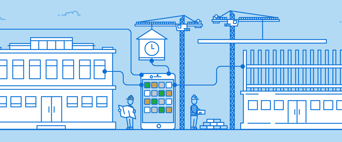Buildings and construction workers with phone connected representing mobile app in infographic