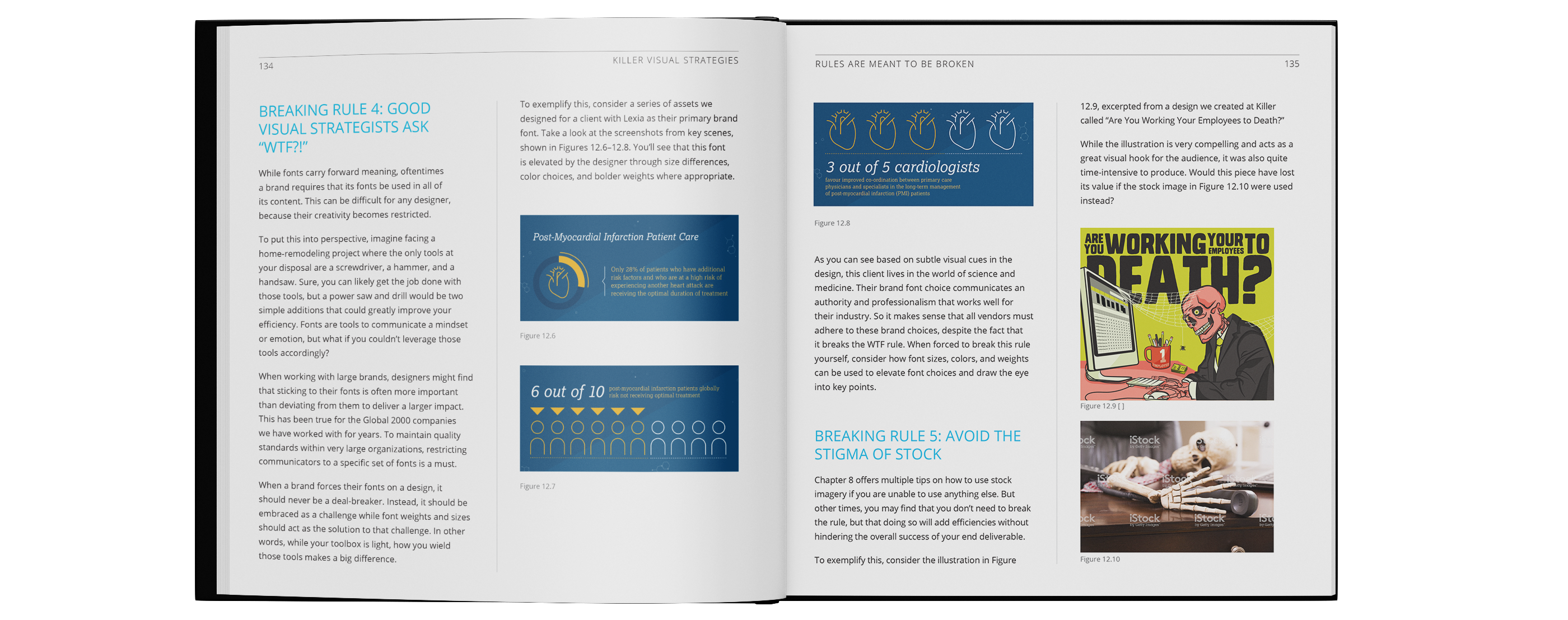 Visual communication book spread showing infographic designs and data visualization