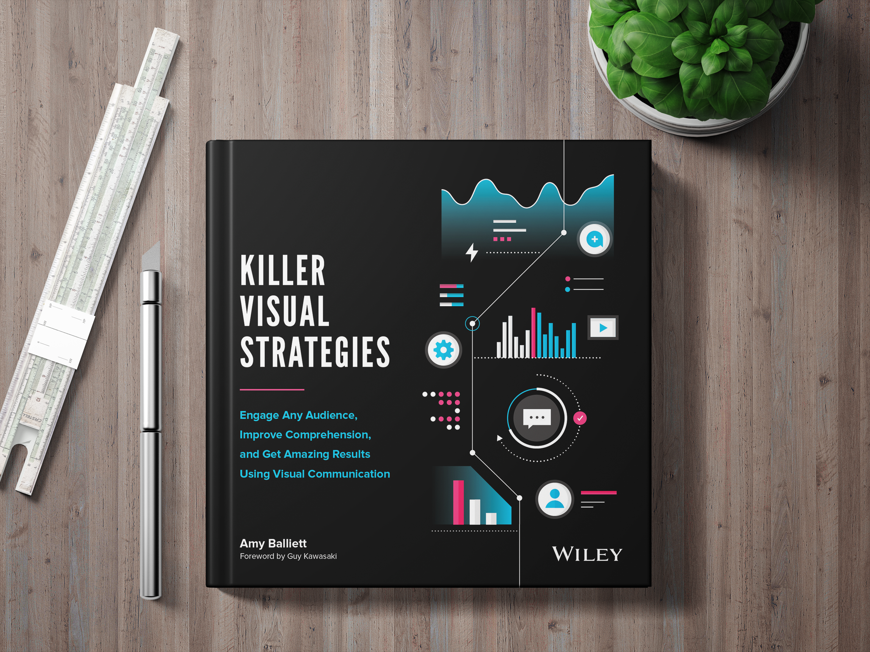 Killer Visual Strategies book about visual communication sitting on a desk