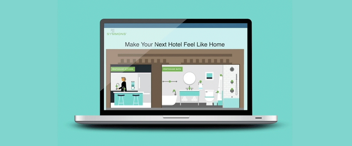 MacBook showing Symmons hotel interactive infographic with kitchen and bathroom scenes