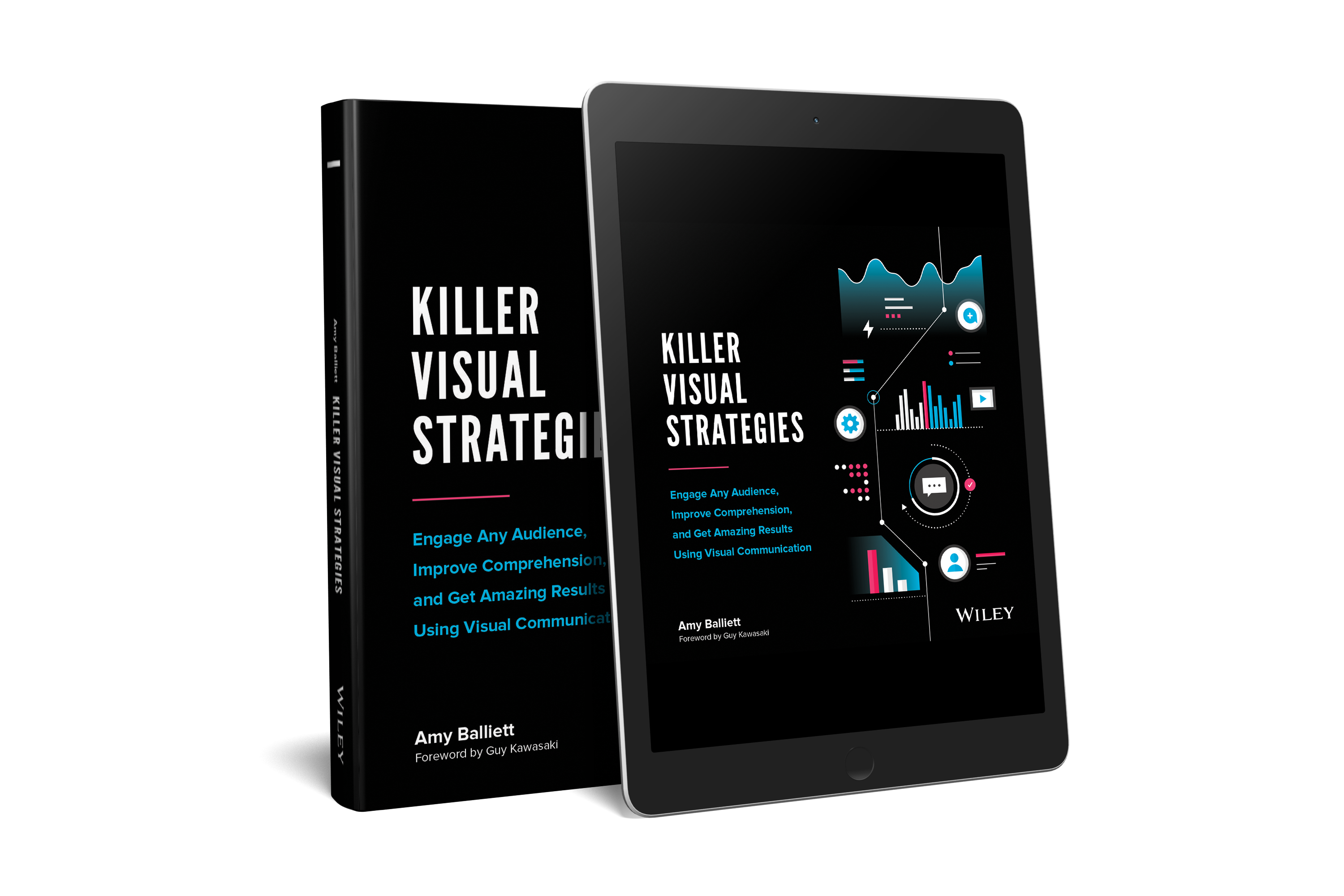 Print book and digital ebook on tablet with black background, title, and data visualization elements