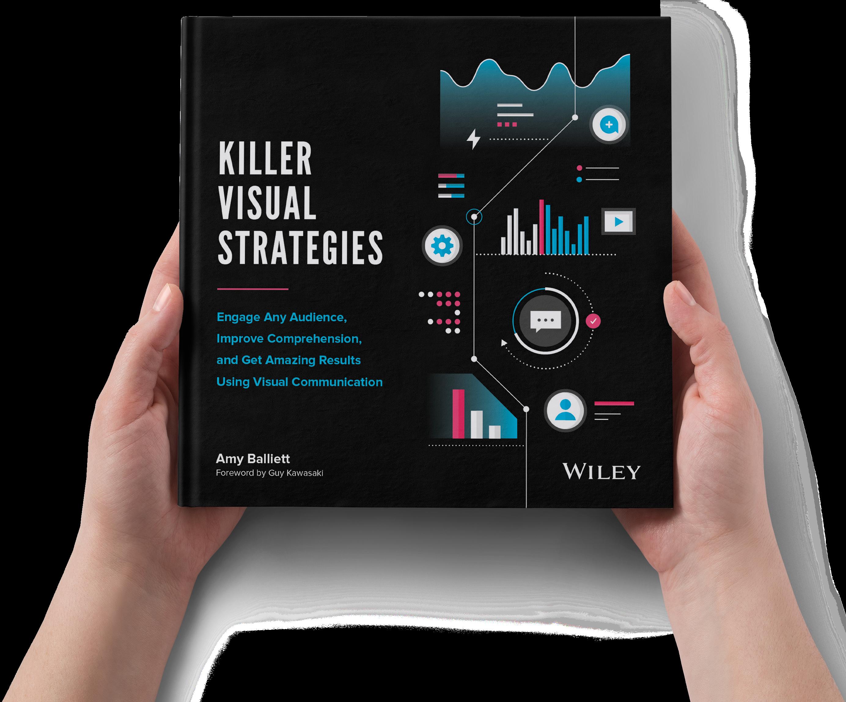 Hands holding Killer Visual Strategies, a book by Amy Balliett