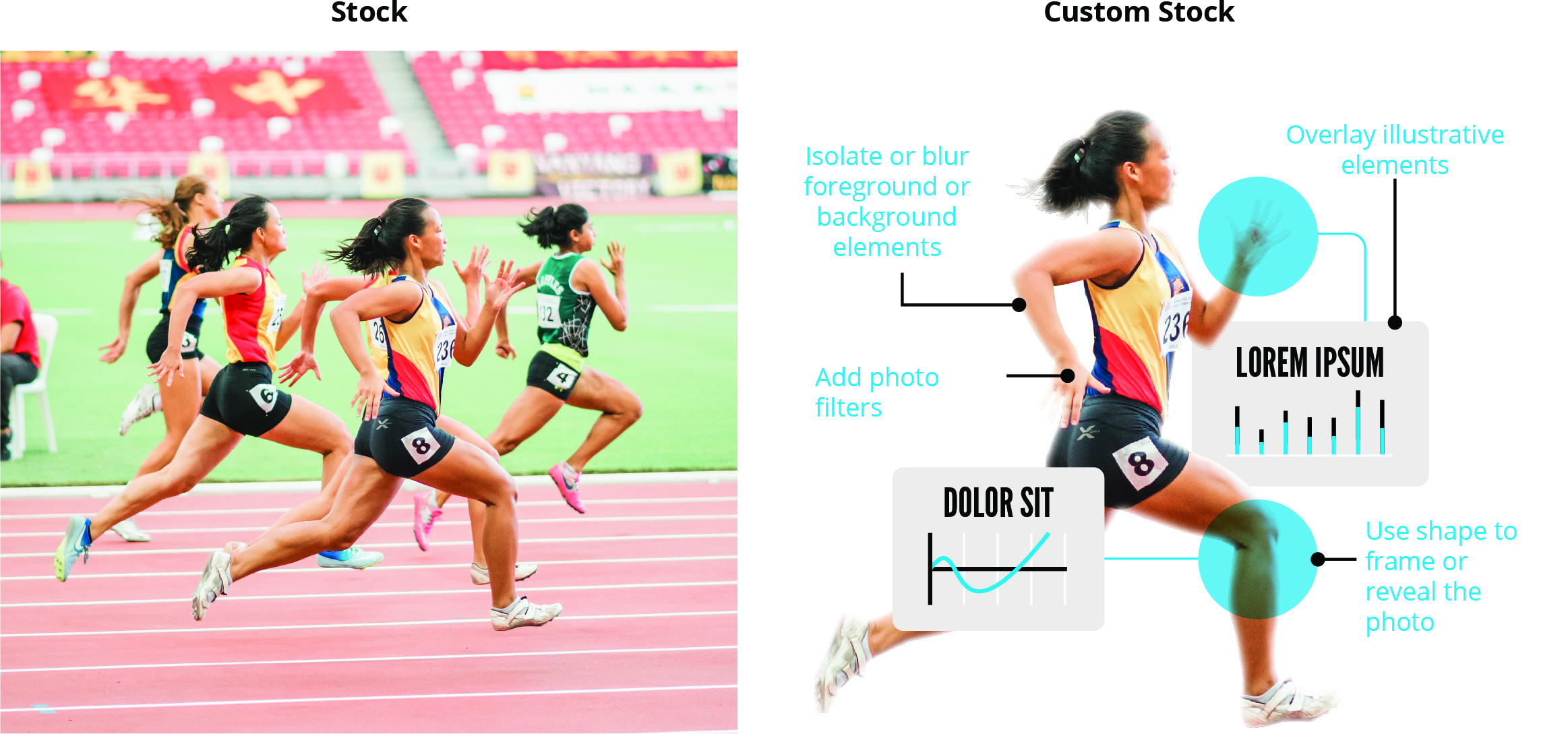 Photo of woman sprinting with illustrations and graphs