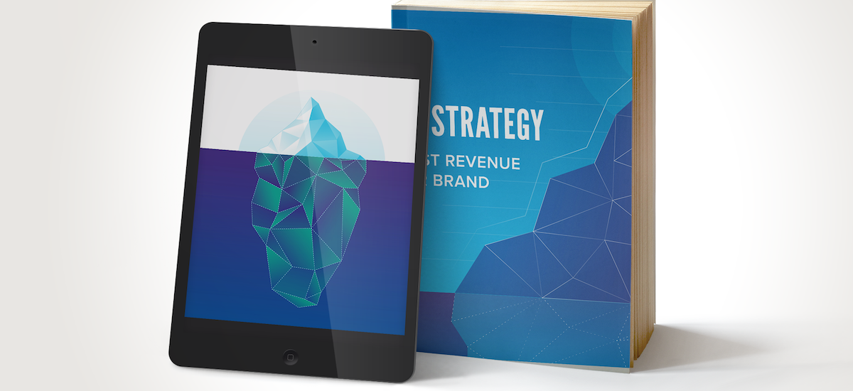 Visual brand strategy book with iceberg displayed on tablet
