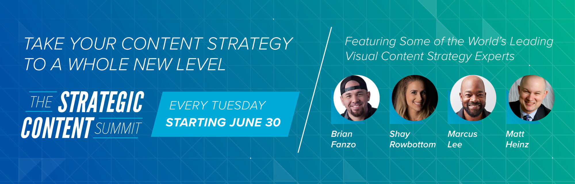 Strategic Content Summit Banner with Featured Speakers