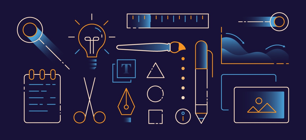 Illustrations of the tools of an infograpic designer: ideas, pens, paintbrushes, computer screen, notebook, and more