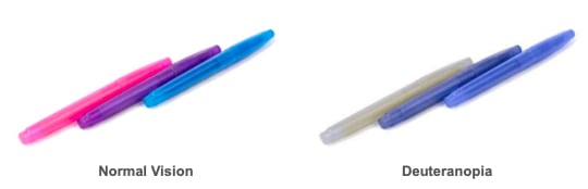 Color-blindness comparison deuteranopia